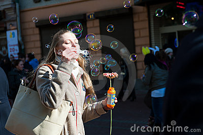 Holiday of spring and bubbles Editorial Stock Image
