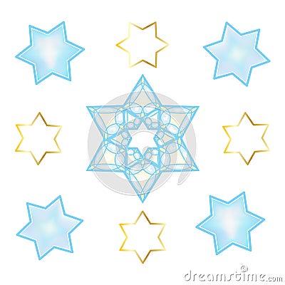 Holiday Stars of David oriental ornament