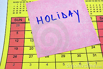 Holiday sticky note on calendar