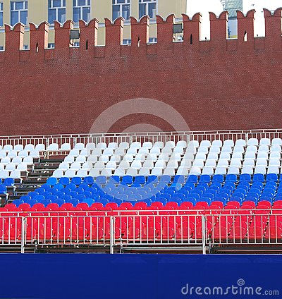 Holiday tribune on the Red Square in Moscow Editorial Photo