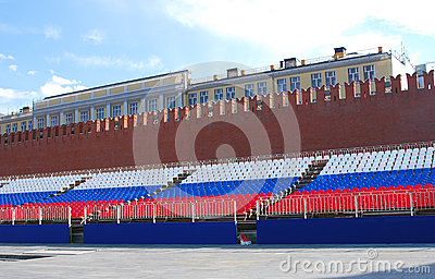 Holiday tribune on the Red Square in Moscow Editorial Image