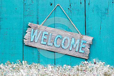 Beach Christmas Cards >> Holiday Welcome Sign Stock Photo - Image: 61613569