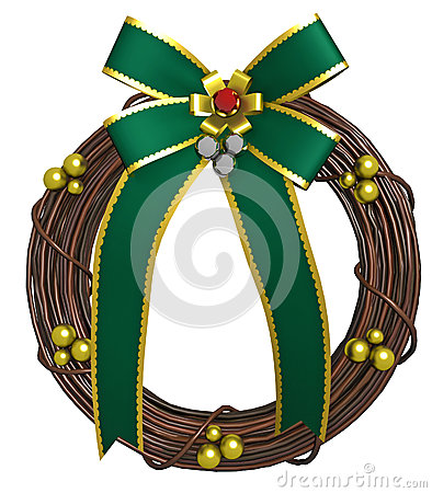 Holiday Wreath with Green Bow