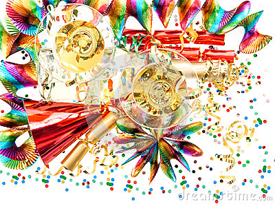 Holidays background with garlands, confetti and champagne