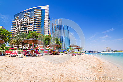 Holidays on the beach in Abu Dhabi Editorial Stock Image