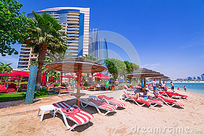 Holidays on the beach in Abu Dhabi Editorial Photography