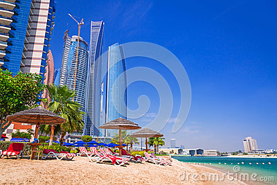 Holidays on the beach in Abu Dhabi, United Arab Emirates