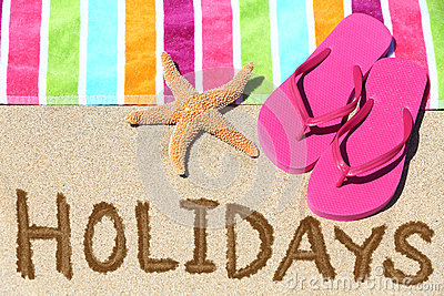 Holidays beach travel text