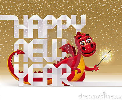 Holidays greeting - dragon with a sparkler
