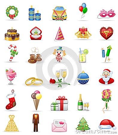 Holidays icon set.