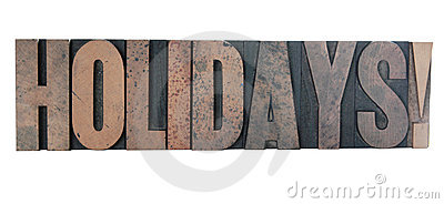 holidays!  in old letterpress wood type