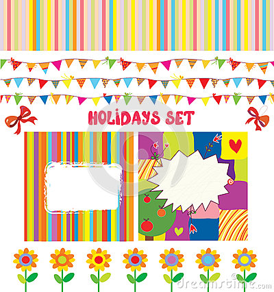 Holidays or party design elements set funny