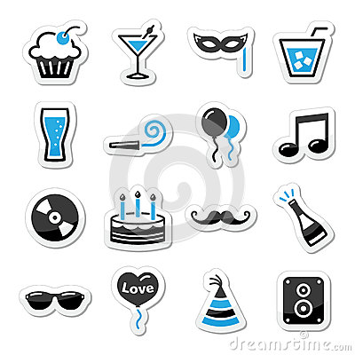Holidays and party icons set as labels