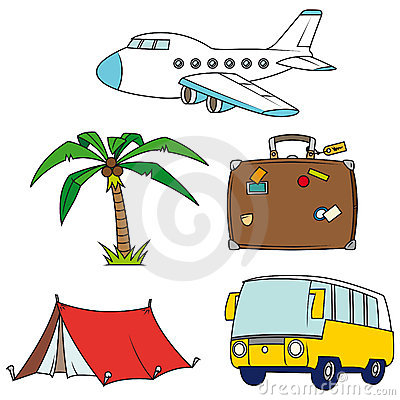 Holidays and travel clip-art set