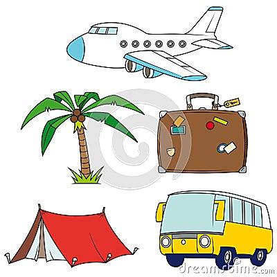 Holidays and travel clip-art set