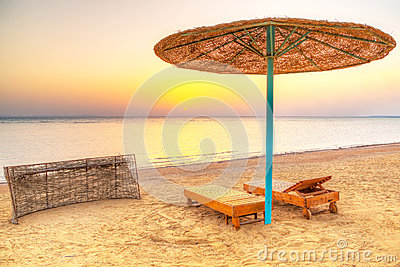 Holidays under parasol on the beach of Red Sea
