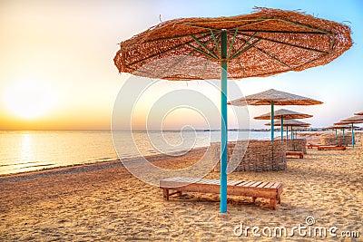 Holidays under parasol on the beach