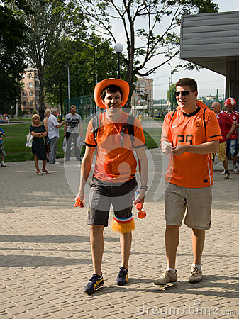 Holland supporters in Kharkov, Ukraine Editorial Stock Photo