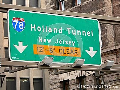 Holland Tunnel Street Sign in Manhattan, New York City