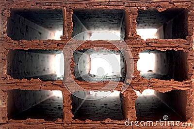 Hollow brick interior view