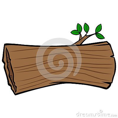 Hollow Tree Trunk Vector Illustration