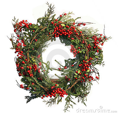 Holly Berry and Pine Christmas Wreath