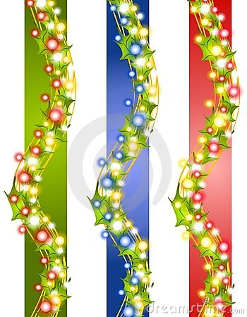 Holly Christmas Lights Borders