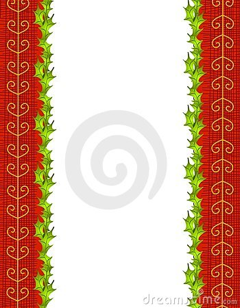 Holly Leaves and Red Gold Ribbon Border