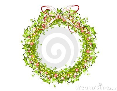 Holly Ribbons and Lights Wreath