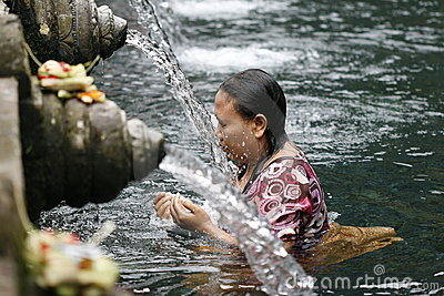 Holly springs in Balinese Tirta Empul Temple Editorial Photography