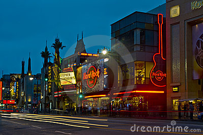 Hollywood Boulevard at Night Editorial Image