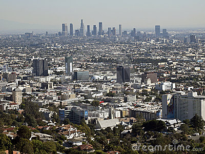 Hollywood and Downtown Los Angeles Editorial Stock Image