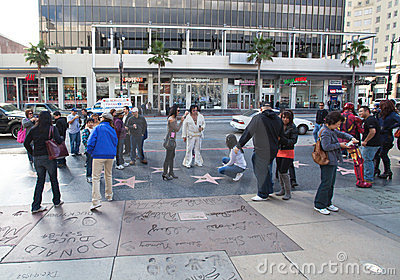 Hollywood s Walk of Fame Footprints Editorial Image