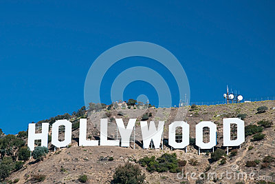 Hollywood sign on Santa Monica mountains in Los Angeles Editorial Photo