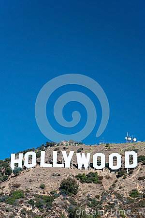 Hollywood sign on Santa Monica mountains in Los Angeles Editorial Stock Photo
