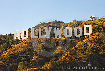 Hollywood Sign at sunset Editorial Photography