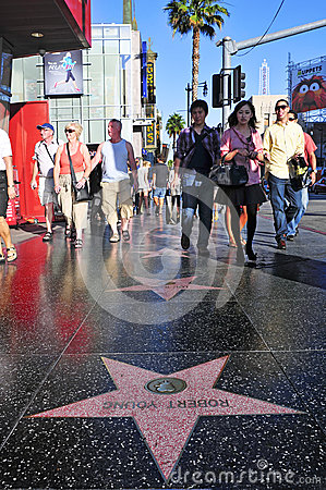 Hollywood Walk of Fame in Hollywood Editorial Photo