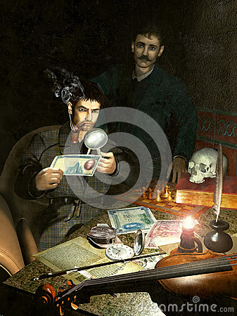 Holmes and Watson investigating