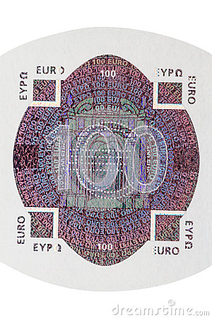 One hundred euro note hologram