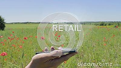 Hologram van Kleinhandels op een smartphone royalty-vrije illustratie