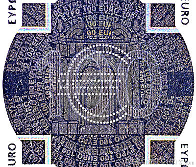 Holographic patch of one hundred Euro banknote
