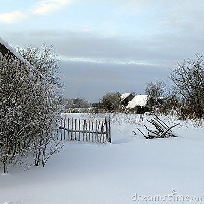 Holoholnya village in Russia in winter time.