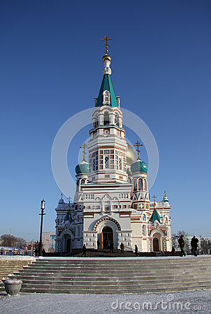 Free Holy Assumption Cathedral (Dormition Cathedral) On Cathedral Square In Omsk, Russia Stock Photography - 59883152