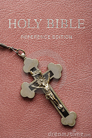 Holy Bible and crucifix.