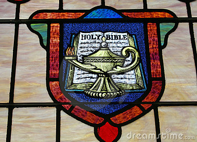 Holy bible stained glass