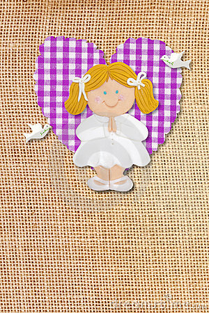 Holy Communion Card,rustic,blond girl
