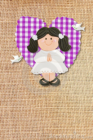 Holy Communion Card rustic,brunette girl