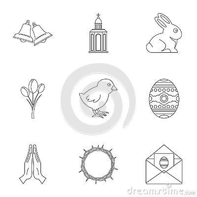 Holy Easter icon set, outline style Vector Illustration