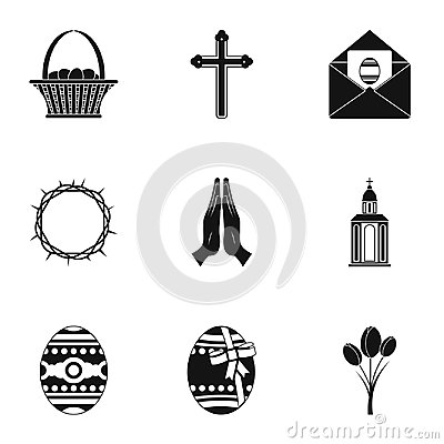 Holy Easter icon set, simple style Vector Illustration