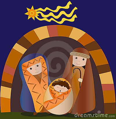 Holy family christmas vector